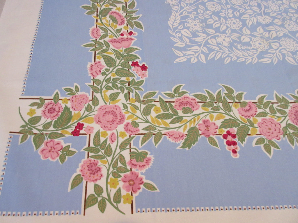Pink Yellow on French Blue Reverse Printed Floral Vintage Printed Tablecloth (52 X 50)
