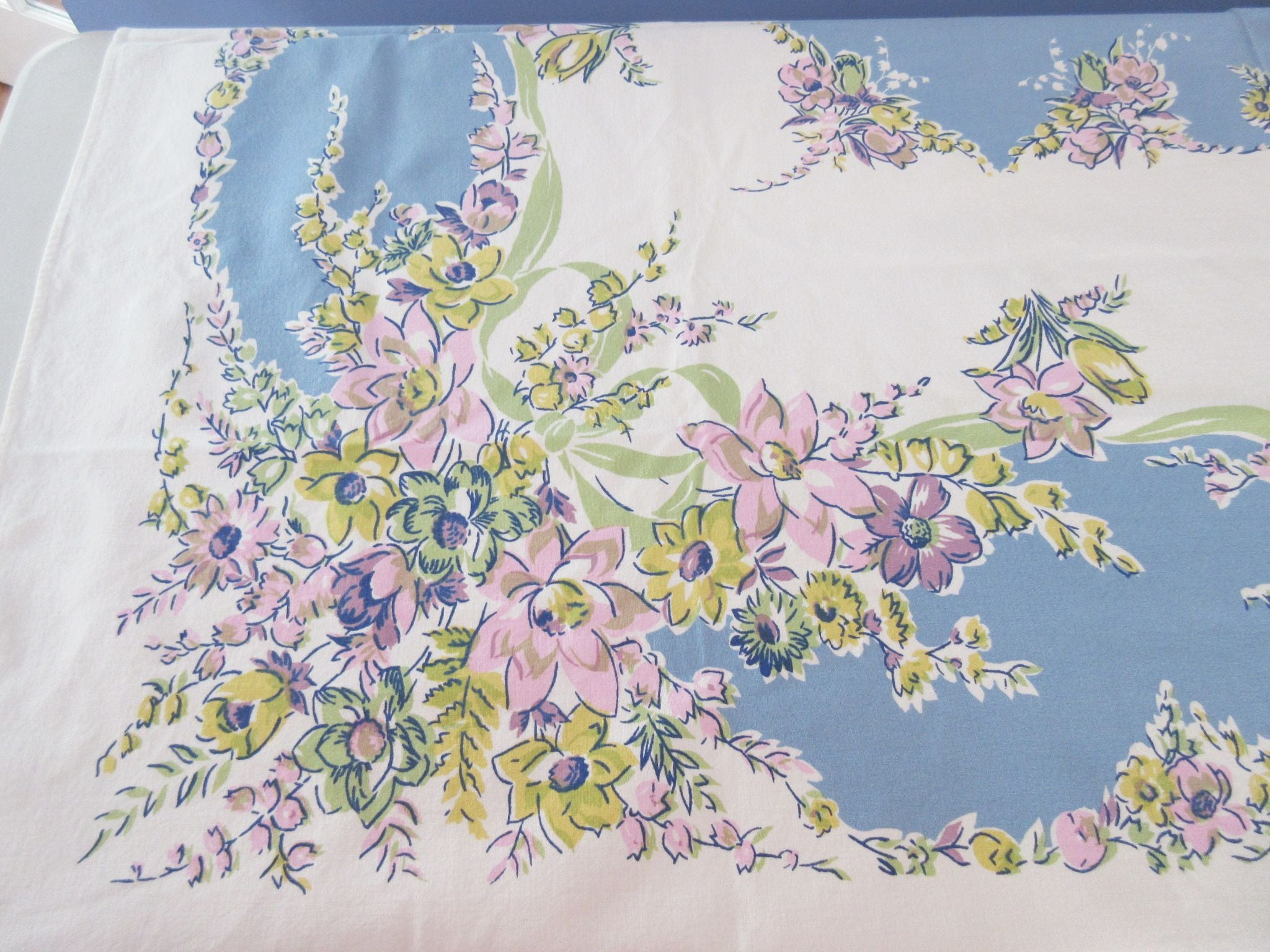 Beautiful Pink Yellow Flowers on Blue Floral Vintage Printed Tablecloth (62 X 52)