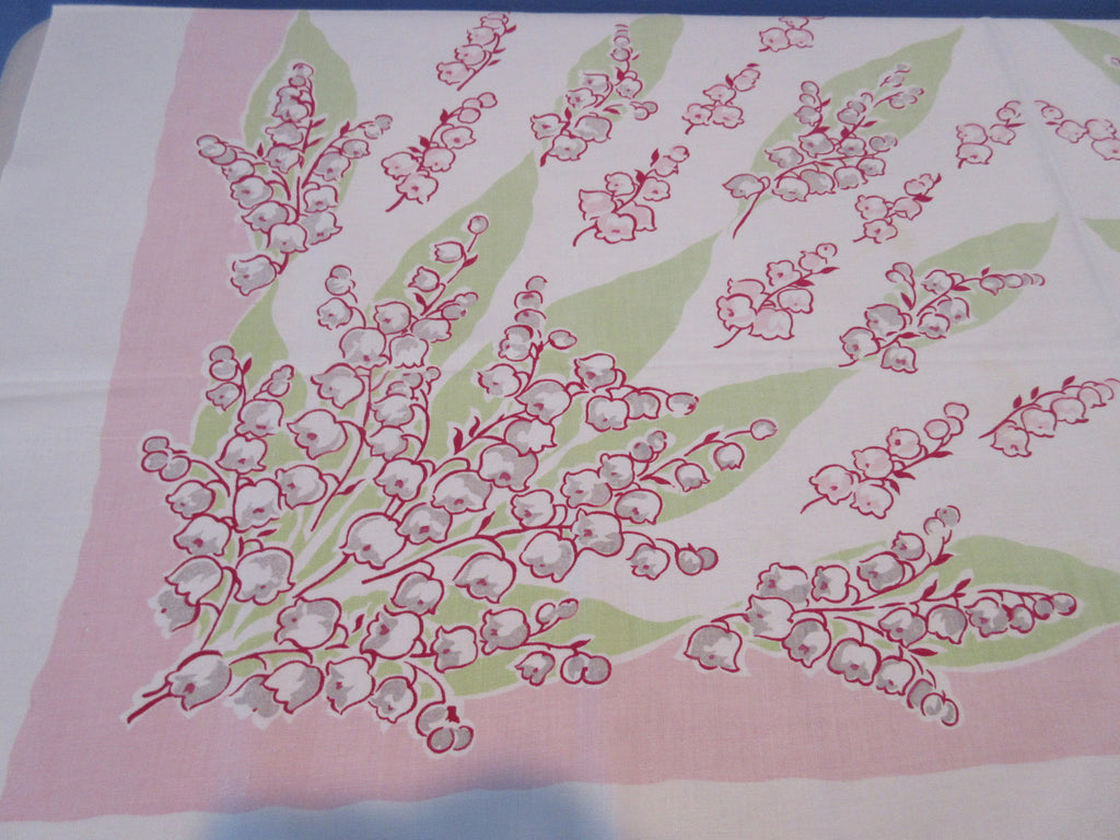 Pink Lime Lily of the Valley Callaway Floral Vintage Printed Tablecloth (52 X 47)