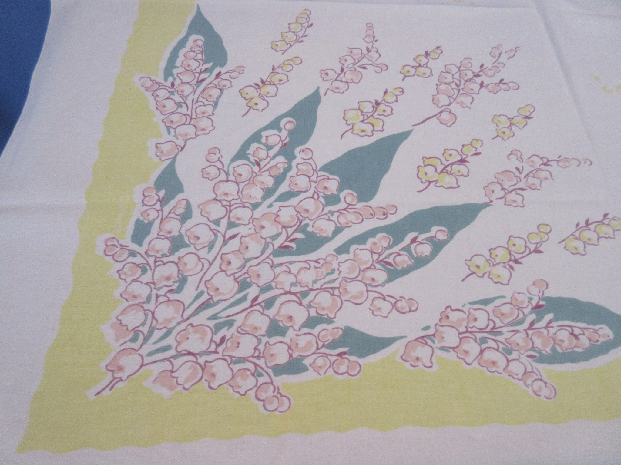 Yellow Nile Green Peach Lily of the Valley Callaway Floral Vintage Printed Tablecloth (51 X 47)