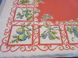 Unused Grapes Pears on Coral Fruit Vintage Printed Tablecloth (53 X 50)