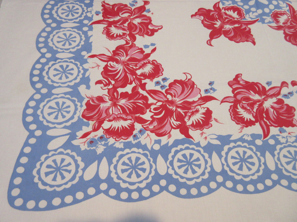 Pink Red Orchids on Blue Lace Floral Vintage Printed Tablecloth (52 X 49)