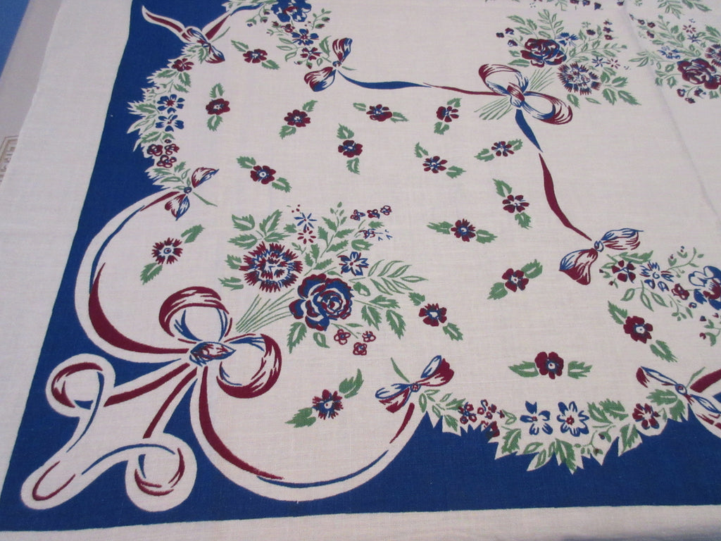 Magenta Blue Roses Ribbons Early Floral Vintage Printed Tablecloth (48 X 46)