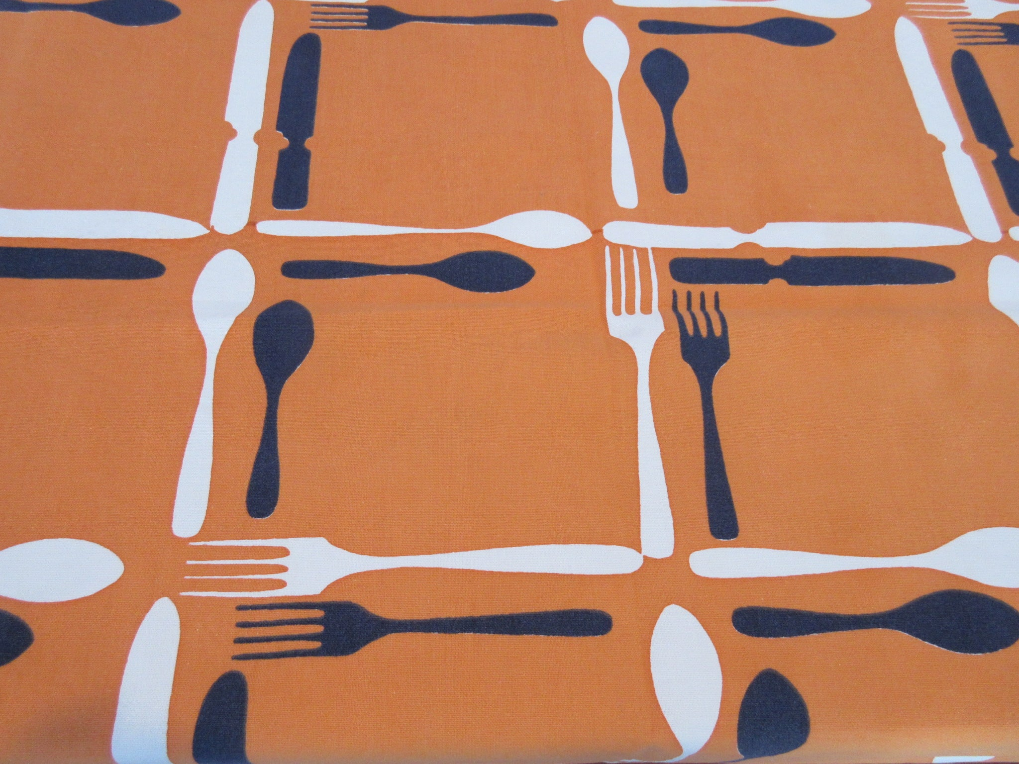 Forks Knives Silverware Flatware on Orange Novelty Vintage Printed Tablecloth (52 X 49)