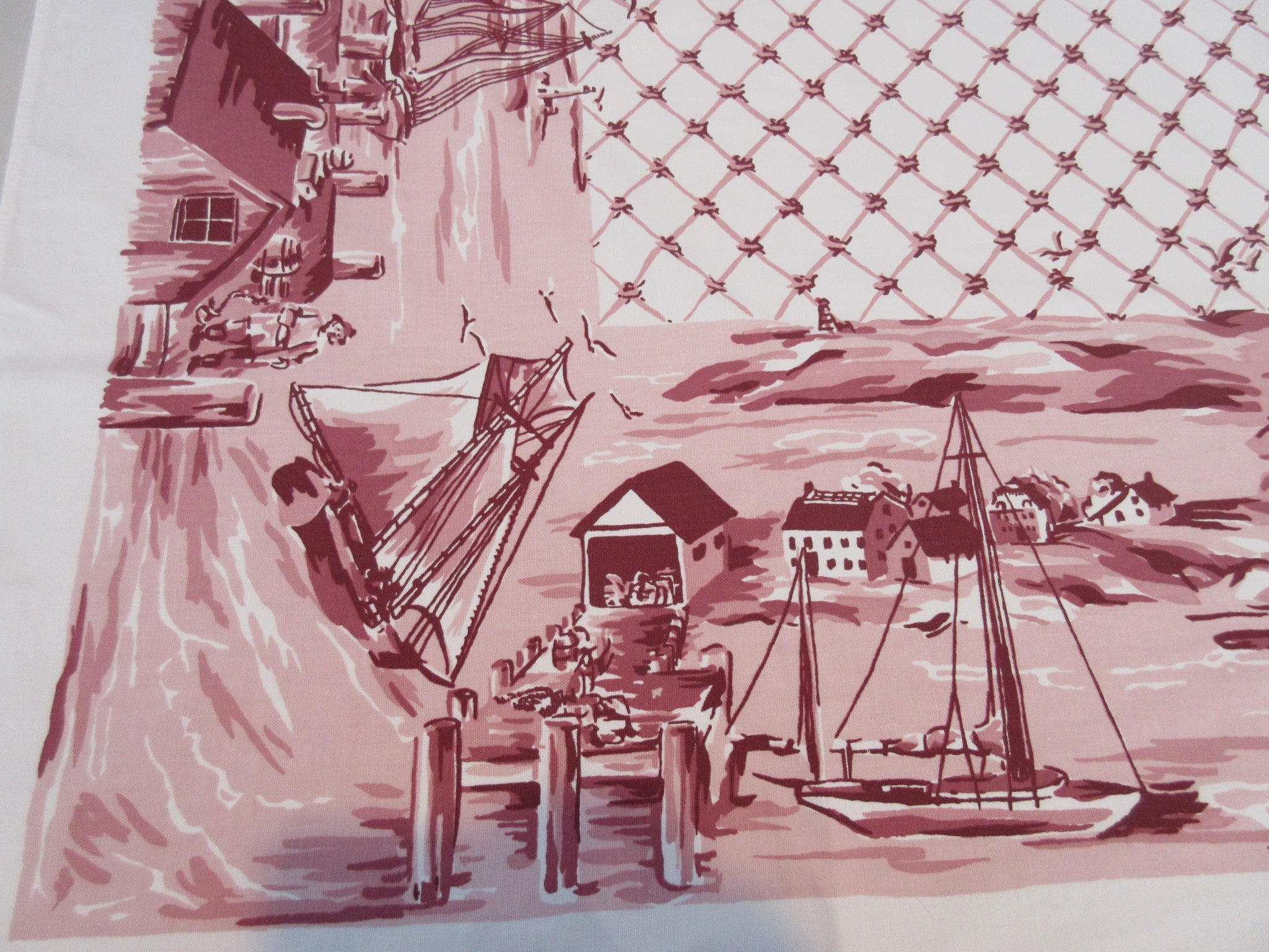 Startex Toile Fishing Village Pink Novelty Vintage Printed Tablecloth (64 X 54)