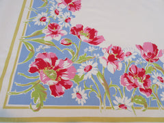 Large Pink Poppies Daffodils Daisies on Blue Floral Vintage Printed Tablecloth (74 X 59)