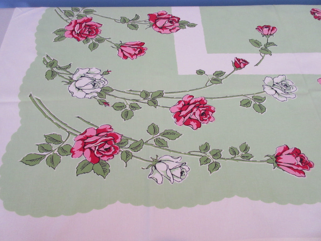 HTF Pink White Roses on Lime Green Floral Vintage Printed Tablecloth (52 X 45)