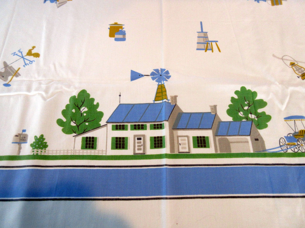 Unusual Blue Farm and Stand Novelty Vintage Printed Tablecloth (50 X 45)