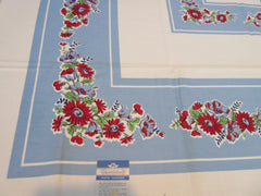 Imperfect Red Green Daisies Poppies on Blue MWT Floral Vintage Printed Tablecloth (50 X 49)