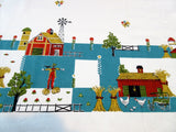 Fabulous Farm on Teal Novelty Vintage Printed Tablecloth (66 X 47)