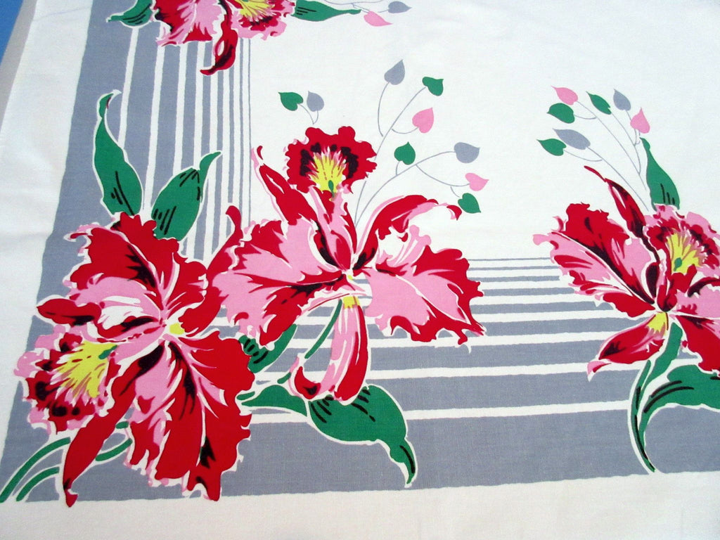 Amazing Pink Green Orchids on Gray Stripes Floral Vintage Printed Tablecloth (63 X 52)