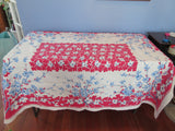 Patriotic Dogwood Branches on Red Floral Vintage Printed Tablecloth (63 X 50)