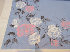 Unusual Pink White Black Roses on Blue Linen Floral Vintage Printed Tablecloth (51 X 48)