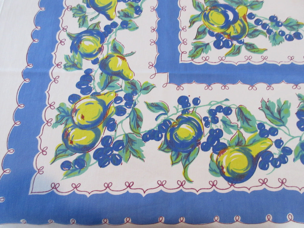 Shabby Yellow Fruit on Blue Cutter? Vintage Printed Tablecloth (49 X 48)