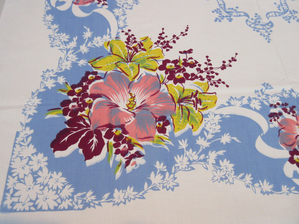 Pink Yellow Magenta Lilies on French Blue Sheeting Floral Vintage Printed Tablecloth (50 X 47)