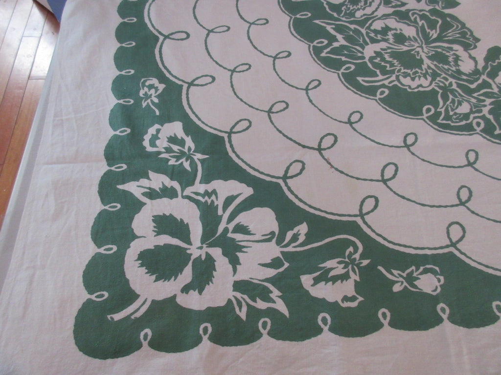 Unusual Damaged Giant Green Pansies Floral Vintage Printed Tablecloth (54 X 45)