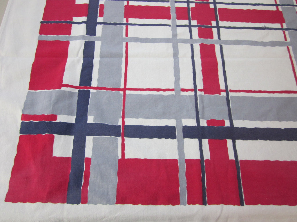 Red Blue Patriotic Plaid Cutter? Novelty Vintage Printed Tablecloth (66 X 54)