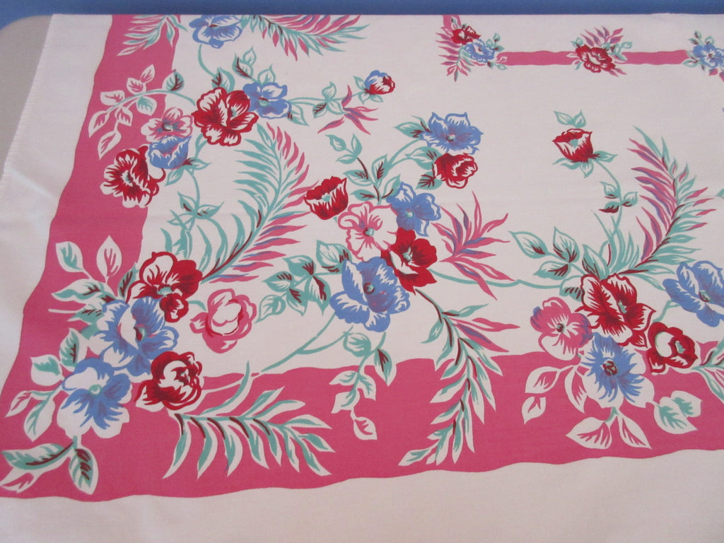 Red Blue Green Roses on Pink Sheeting Vintage Printed Tablecloth