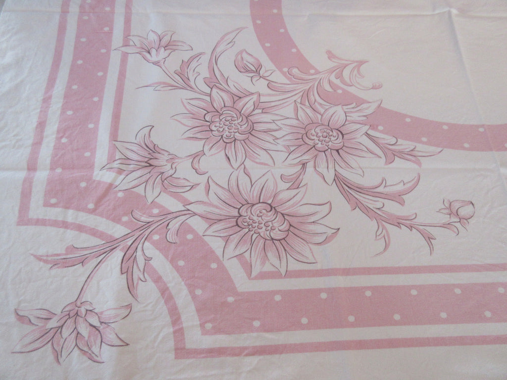Adorable Pink Flowers and Polka Dots Cutter Vintage Printed Tablecloth (51 X 42)