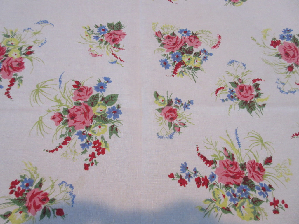 Pink Roses Blue Green Floral Array Linen Vintage Printed Tablecloth (64 X 51)