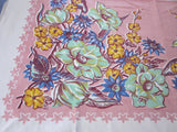 Early Jadite Blue Yellow Flowers on Pink Floral Vintage Printed Tablecloth (50 X 47)