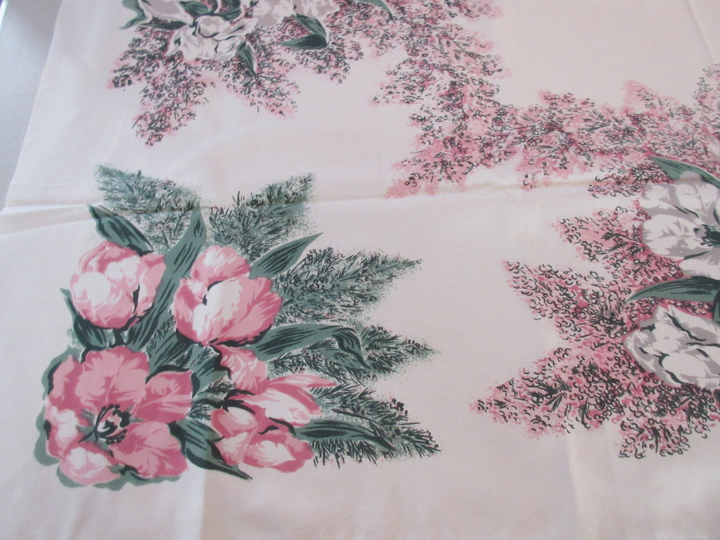 CHP Tulips Pink Lilacs Cutter? Vintage Printed Tablecloth (52 X 45)