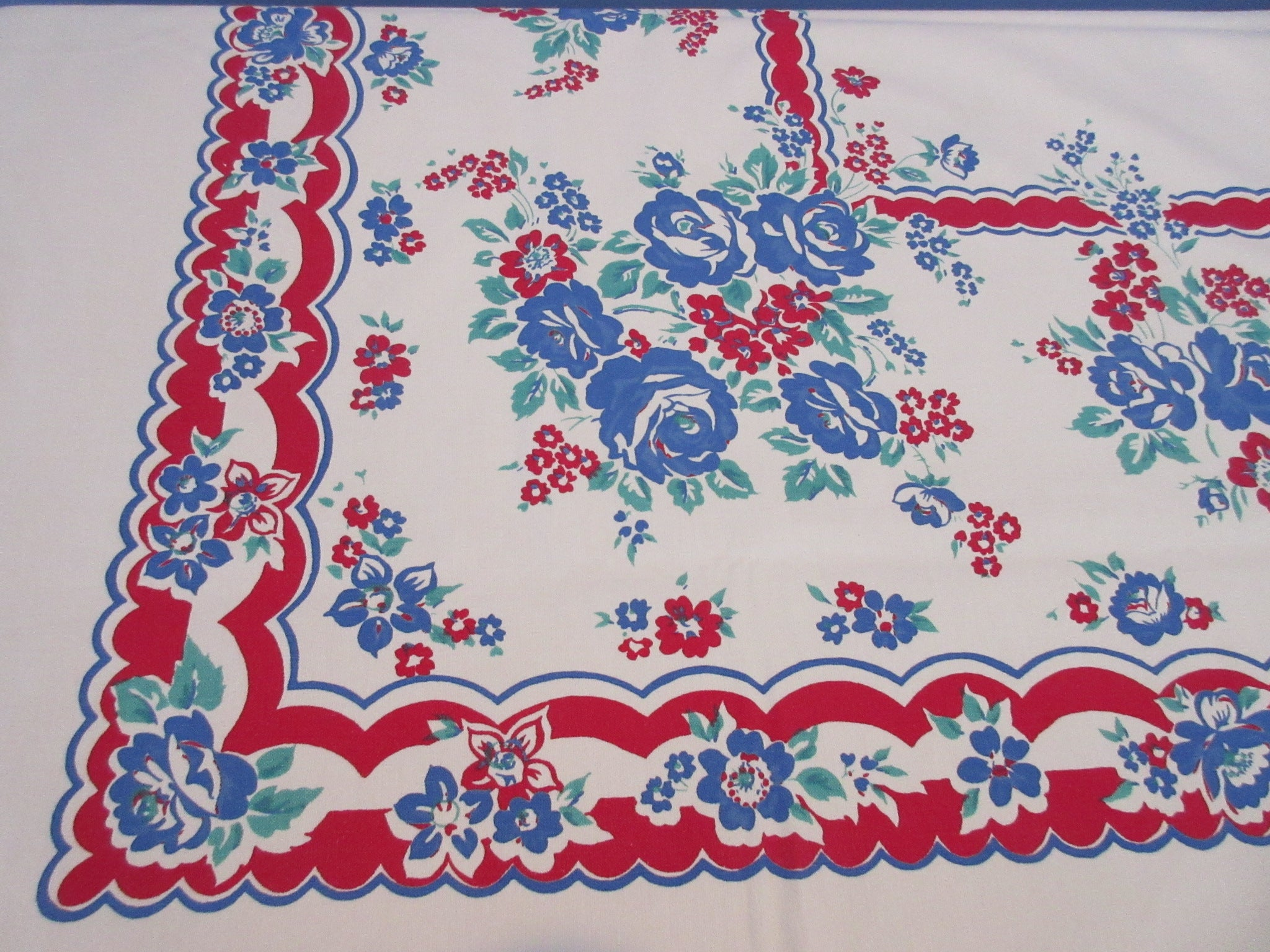 TLC Larger Blue Roses on Red Primary Floral Vintage Printed Tablecloth (73 X 56)