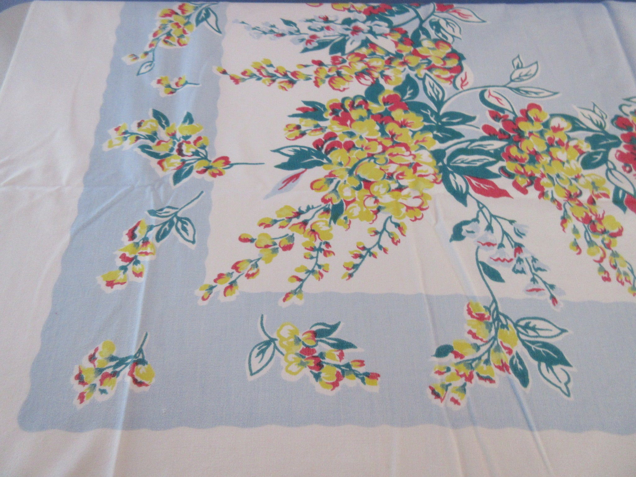 Yellow Red Wisteria on Blue Floral Vintage Printed Tablecloth (52 X 45)