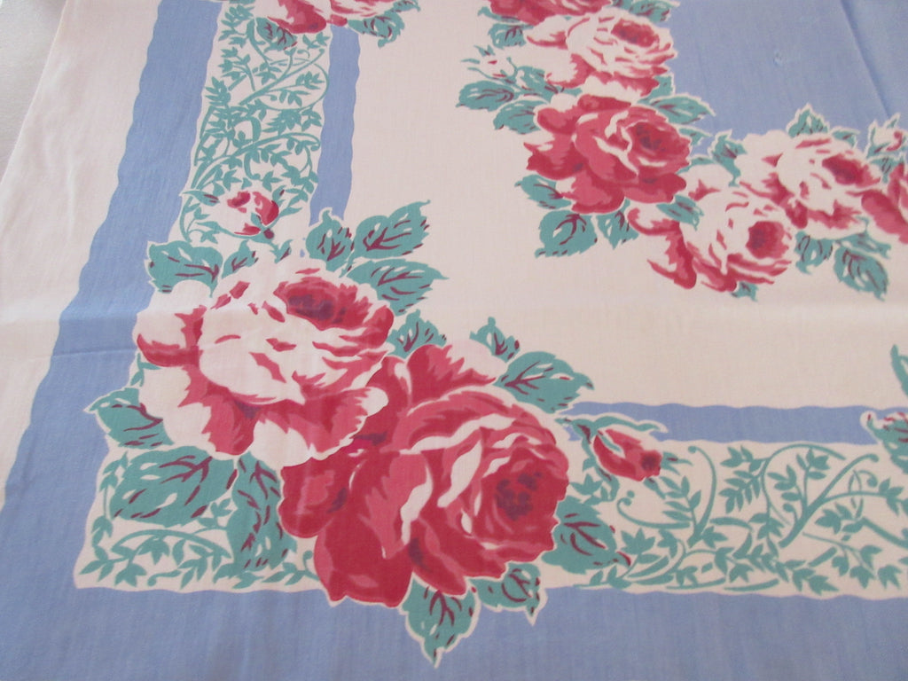 Pink Roses on Blue CUTTER Vintage Printed Tablecloth (50 X 46)