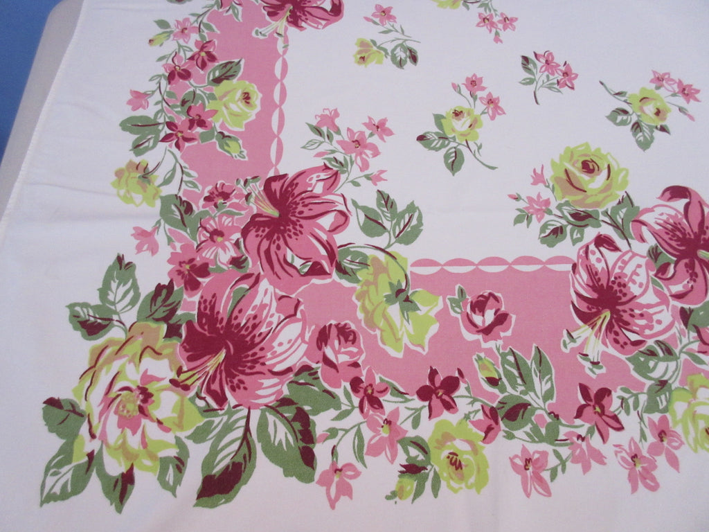 Pink Chartreuse Roses Lilies on Pink Floral Vintage Printed Tablecloth (56 X 50)