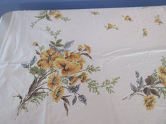 Shabby Yellow Sun Glo Iris CUTTER Vintage Printed Tablecloth (61 X 48)
