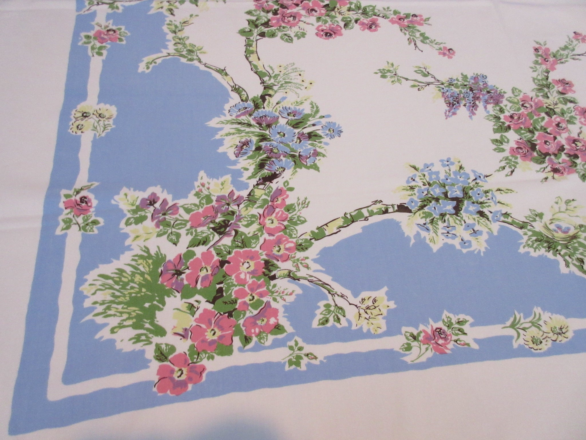 Pastel Roses Birds Nests on Blue Floral Vintage Printed Tablecloth (52 X 45)