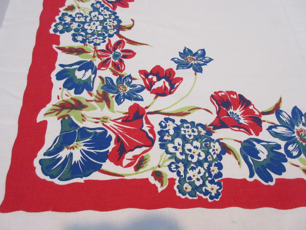 Primary Hydrangeas Morning Glories Clematis on Red Floral Vintage Printed Tablecloth (47 X 46)