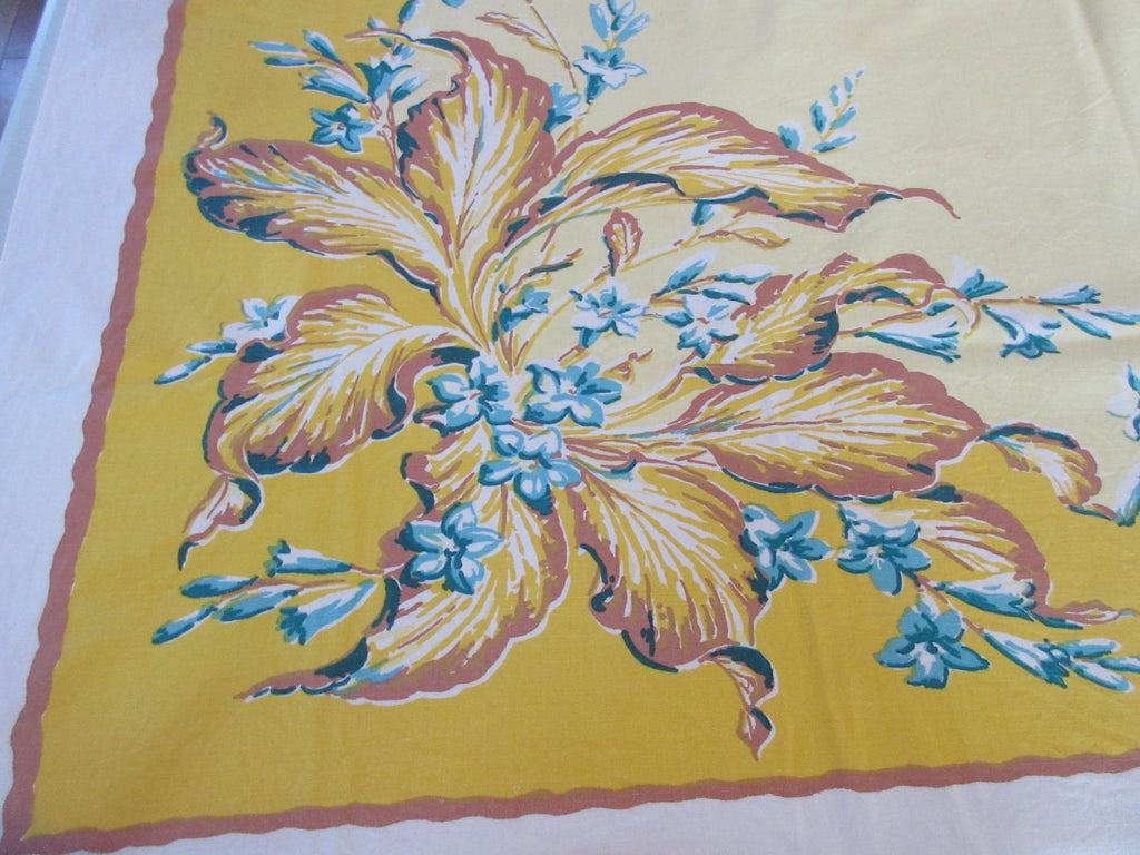 Bold Leaves Teal Flowers on Gold Yellow Cutter? Floral Vintage Printed Tablecloth (53 X 47)