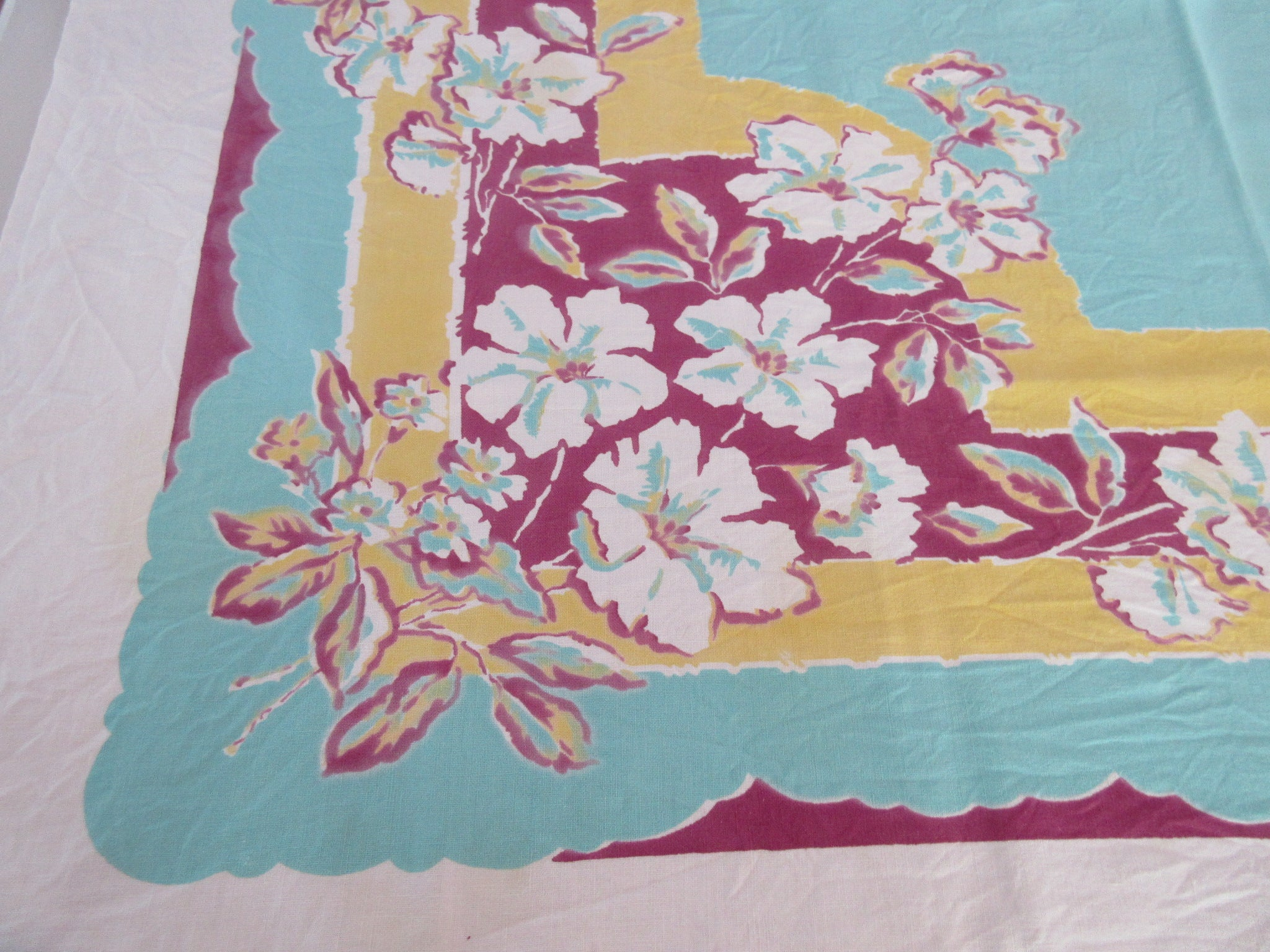 Bold Hibiscus on Magenta Aqua Gold Yellow Floral Vintage Printed Tablecloth (51 X 46)
