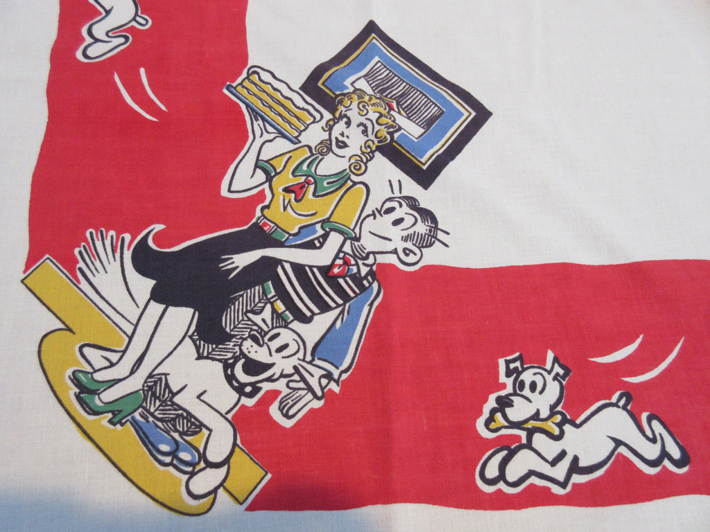 Rare BLONDIE DAGWOOD DAISY Unwashed Cartoon Novelty Vintage Printed Tablecloth (49 X 47)