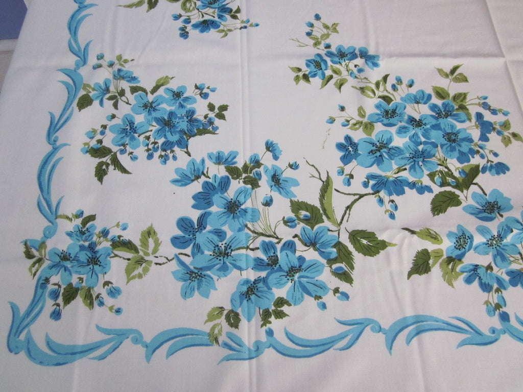 Aqua Green Apple Blossoms MWT  Floral Vintage Printed Tablecloth (54 X 51)