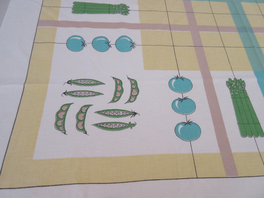 Pastel Modern Vegetable Asparagus Peas Plaid Vintage Printed Tablecloth (50 X 46)