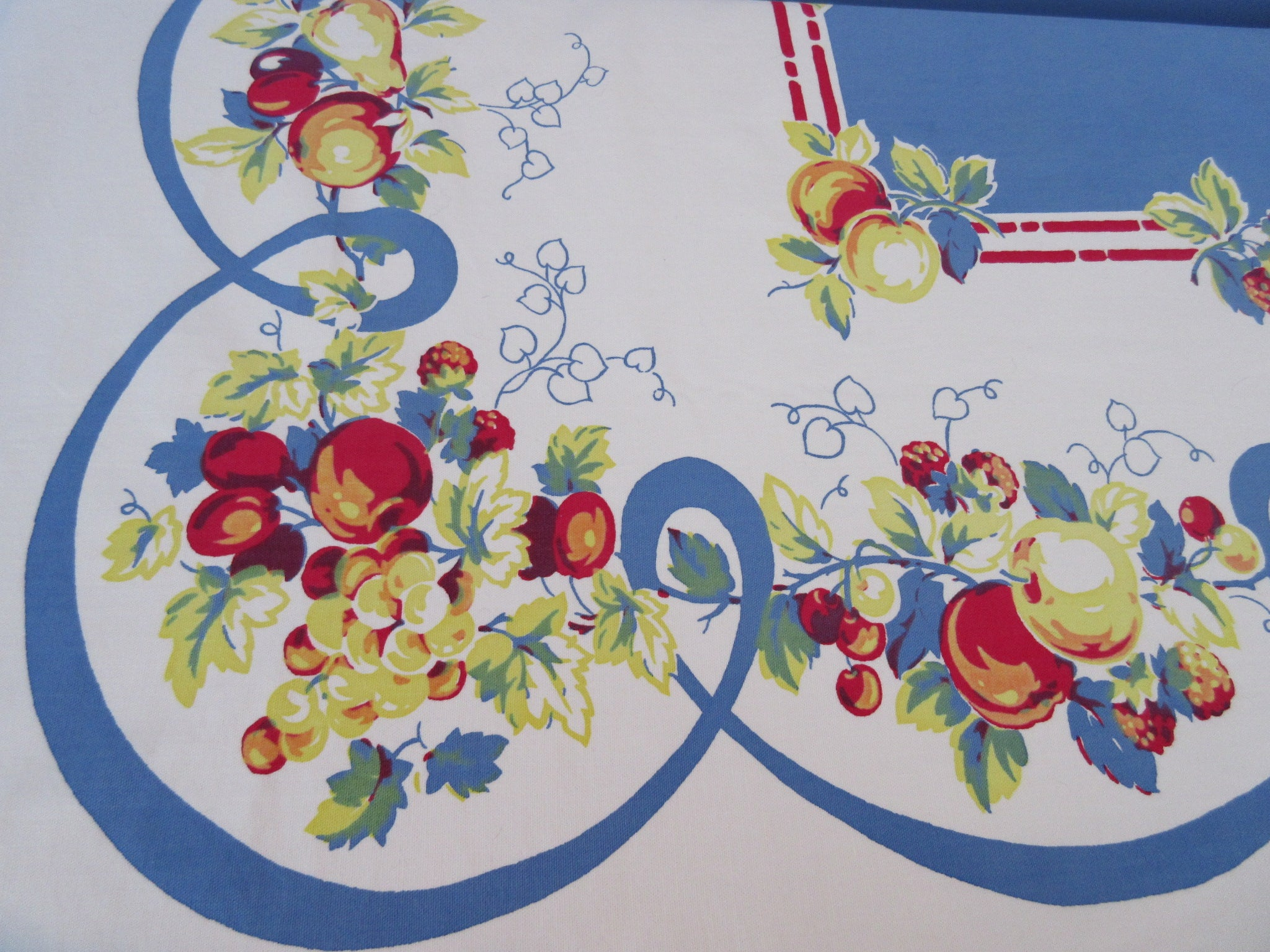 Luscious Large Heavy Primary Fruit on Blue Vintage Printed Tablecloth (73 X 61)