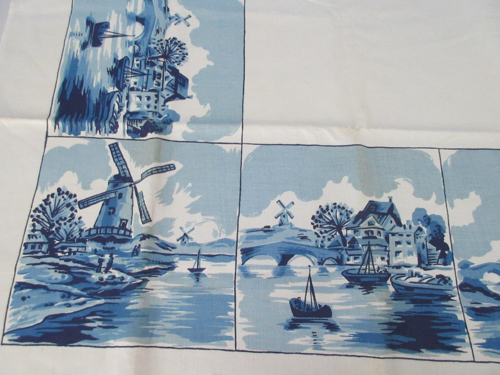 Rare Pride of Flanders Blue Delft Dutch Novelty MWT Vintage Printed Tablecloth (51 X 51)
