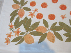 VERA Lemons Oranges Orange Blossoms Citrus Fruit Vintage Printed Tablecloth (50 X 50)