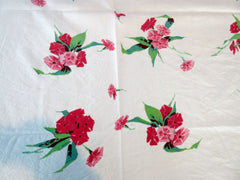 Wilendur Pink Phlox Cutter? Floral Vintage Printed Tablecloth (54 X 48)