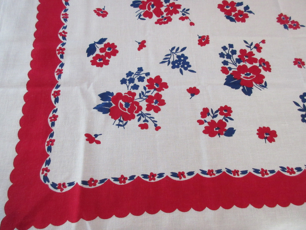 Patriotic Early Blue Red Floral Vintage Printed Tablecloth (48 X 46)