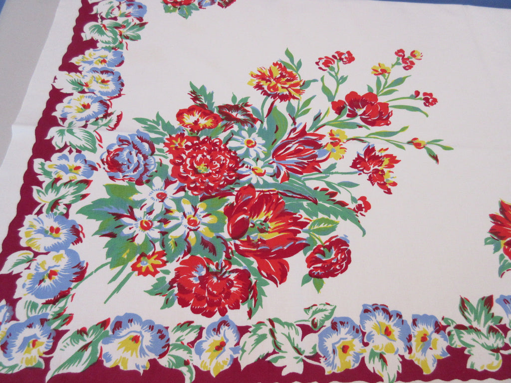 Bright Primary Flowers on Magenta Floral Vintage Printed Tablecloth (50 X 47)