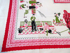 HTF PINHOLE Pink Family Gardening Novelty Vintage Printed Tablecloth (50 X 46)