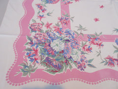 Pretty Pastel Chrysanthemums on Pink Floral Vintage Printed Tablecloth (50 X 45)
