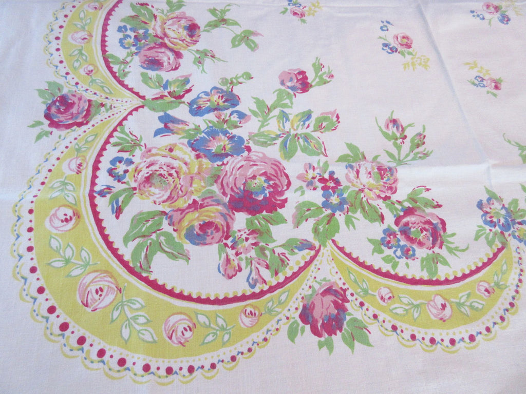 Early Romantic Roses Morning Glories Ribbon Floral Vintage Printed Tablecloth (50 X 48)