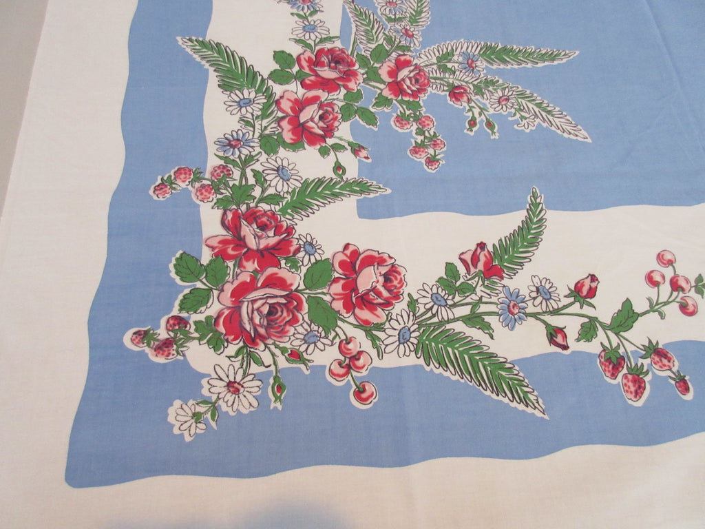 Shabby Pink Roses Strawberries Cherries Floral Vintage Printed Tablecloth (50 X 49)