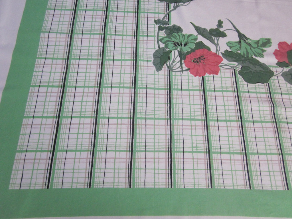 Coral Nasturtiums Green Plaid Floral Vintage Printed Tablecloth (53 X 48)
