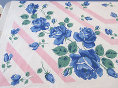 Larger Blue Roses on Pink Stripes Cutter? Floral Vintage Printed Tablecloth (64 X 50)